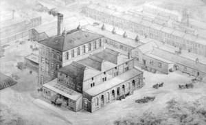 Tyne Brewery 1884. Pencil drawing. Negative Number 54M99